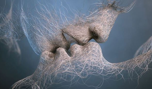 beso rostros en fibras
