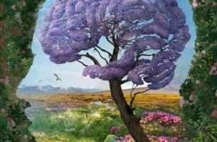Perfil de cabeza de hombre rodeado de naturaleza