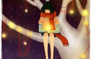 Chica con estrella entre sus manos