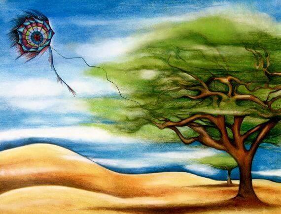 cometa enganchada a un árbol