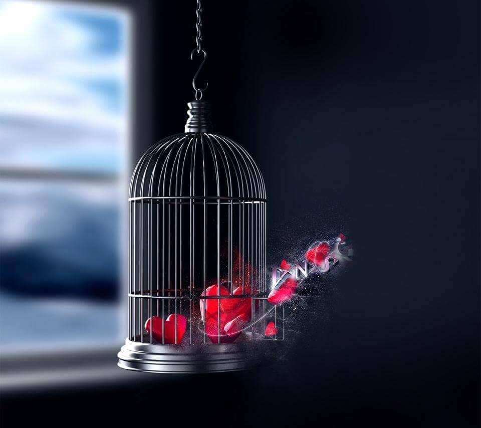 Corazón enjaulado liberándose como símbolo de desarrollo personal