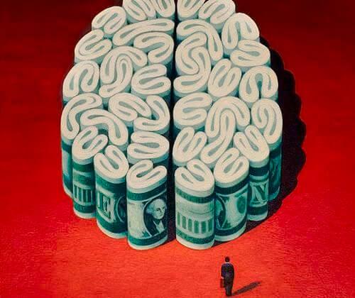 dinero en forma de cerebro