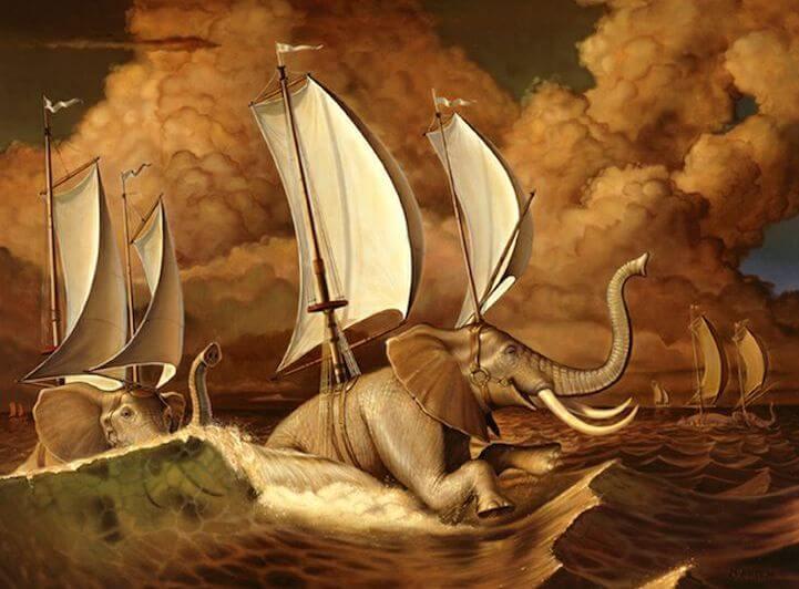 elefantes en el océano
