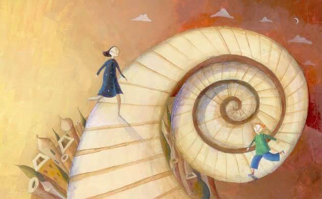 Escalera en espiral simbolizando el desarrollo personal