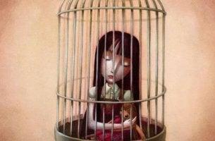 Niña en una jaula representando familias narcisistas