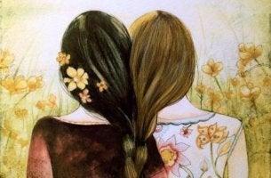 Hermanas unidas por el pelo representando la psicología de la conexión
