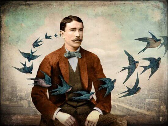 Hombre rodeado de pájaros simbolizando deberes humanos