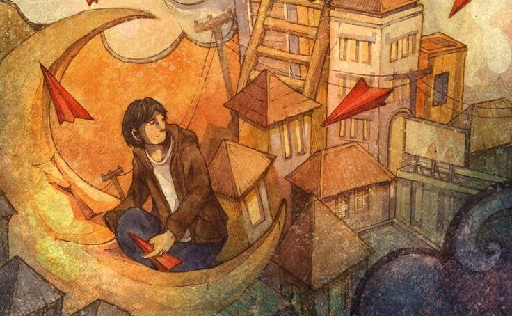 hombre sentado en una escalera