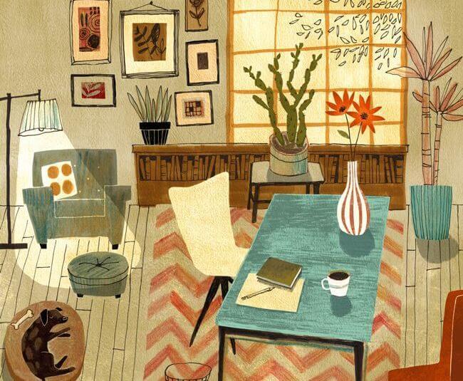 ilustracion de una habitación sala de estar