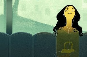 Chica joven sentada escuchando música