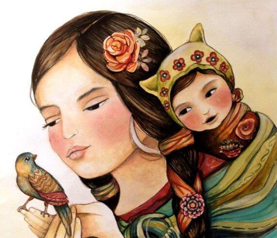 madre con su hijo y pájaro en las manos