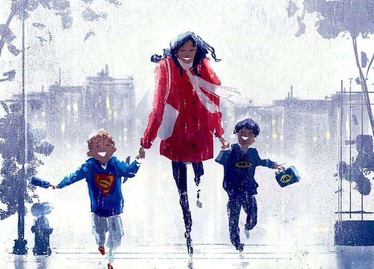 madre corriendo con sus dos hijos