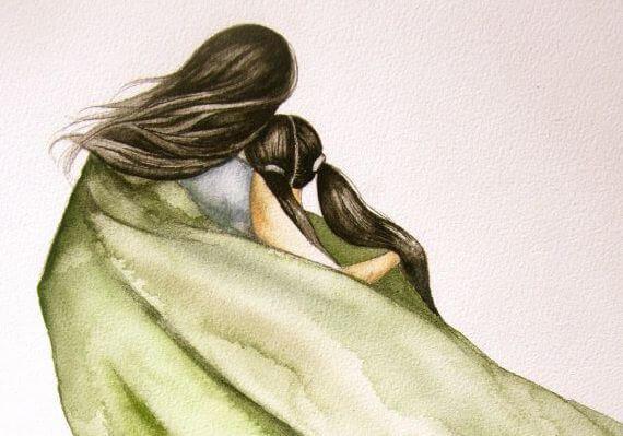 madre e hija bajo un manto pensando en abrazos