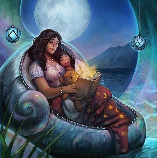 madre leyendo a su hija