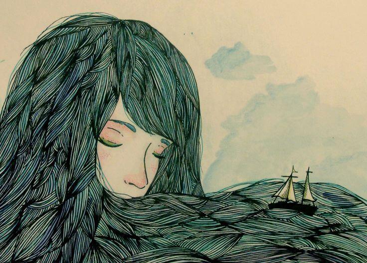 mujer con barco en el cabello