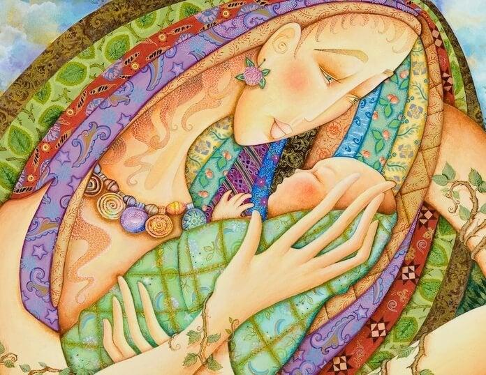 mujer con bebe en los brazos