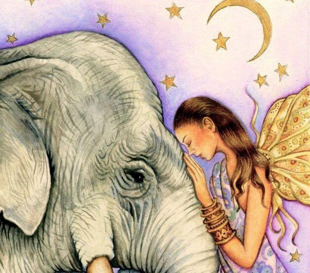 mujer con elefanre