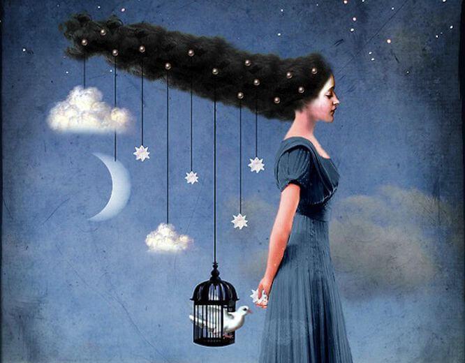 Mujer con estrellas colgando del pelo pensando en su vida