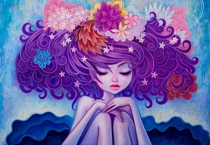 mujer con flores en la cabeza