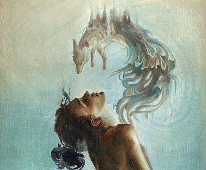 mujer con lobo emergiendo del pecho