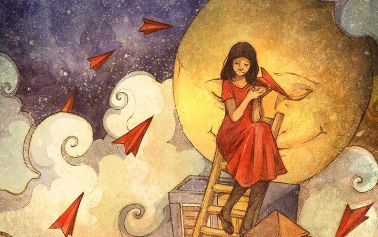 mujer de rojo subida a una escalera