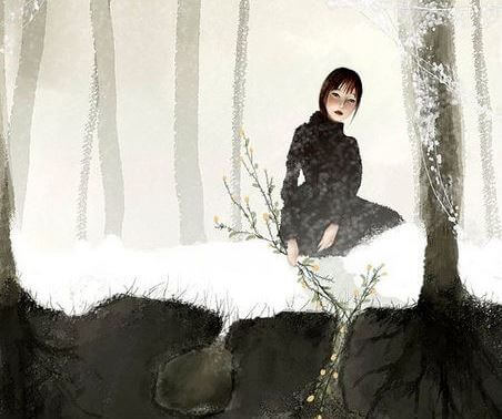 mujer en escenario nevado