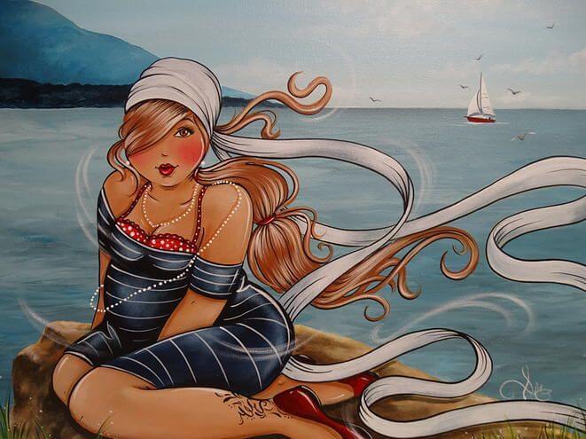 Mujer en la playa pensando en su edad