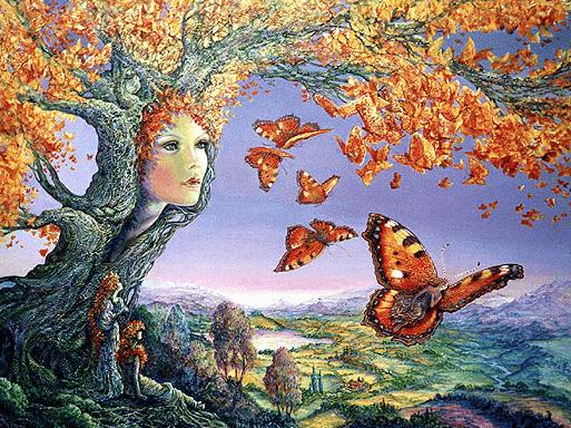 Mujer árbol con mariposas