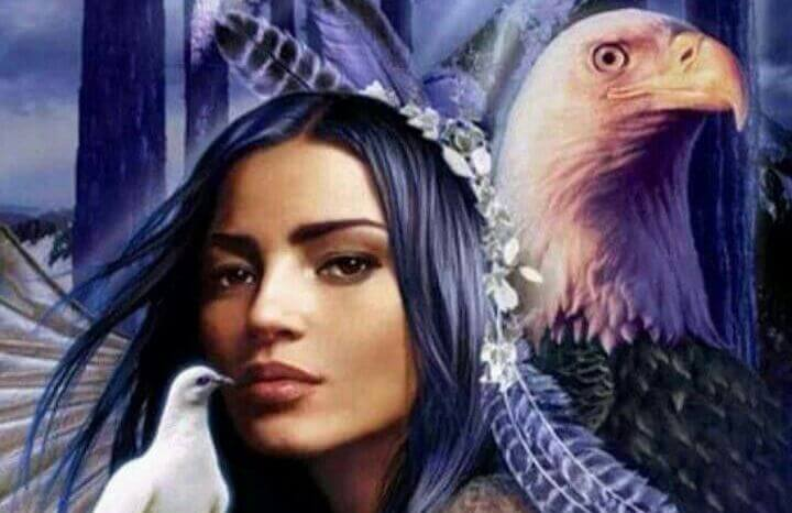 mujer nativa americana con aguila