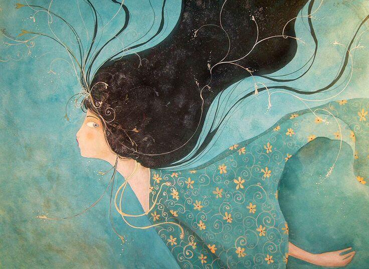 Mujer nadando que ha emprendido una huida