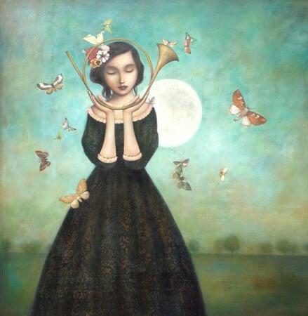 niña con instrumento musical y mariposas