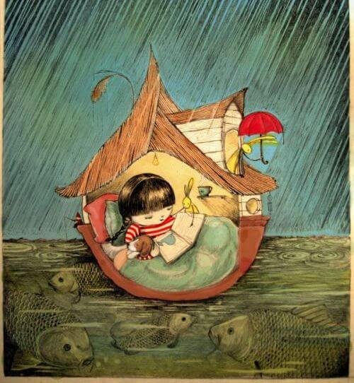 niña leyendo cobijada bajo la lluvia