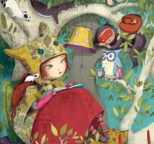 niña leyendo rodeada de animales