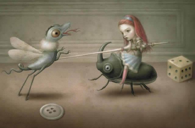 Niña luchando contra moscas