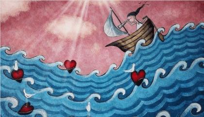 Niña en un barco rodeada de corazones