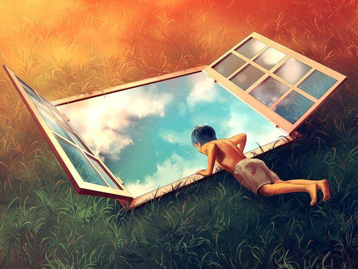 Niño asomado a una ventana simbolizando las teorías de Erik Erikson