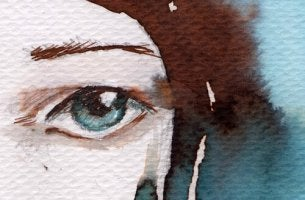 Ojo de mujer triste