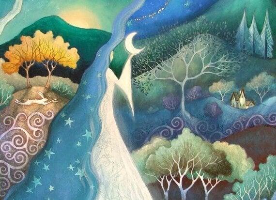 paisaje nocturno luna