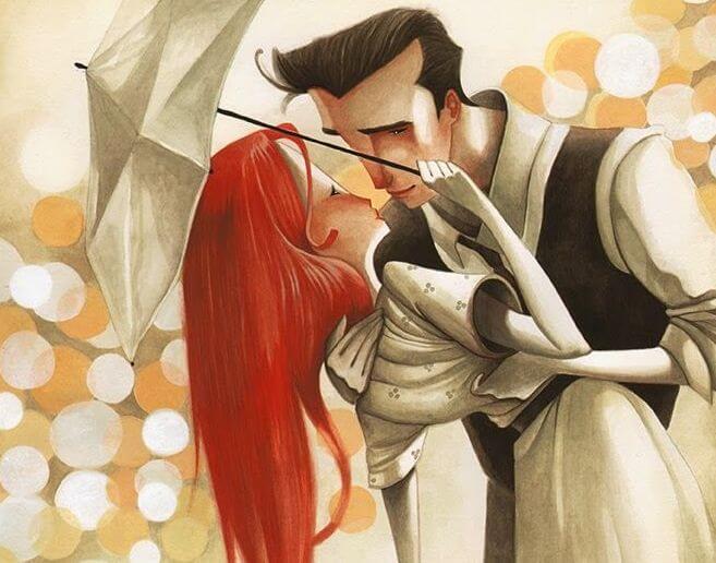 Pareja que siente amor verdadero besándose