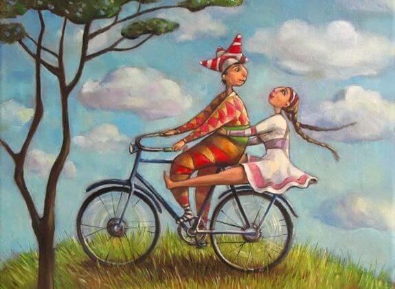 Pareja en bicicleta