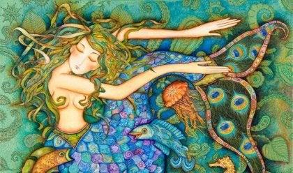 sirena con cabellos de colores