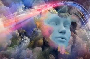 Cara de persona rodeada de nubes de colores