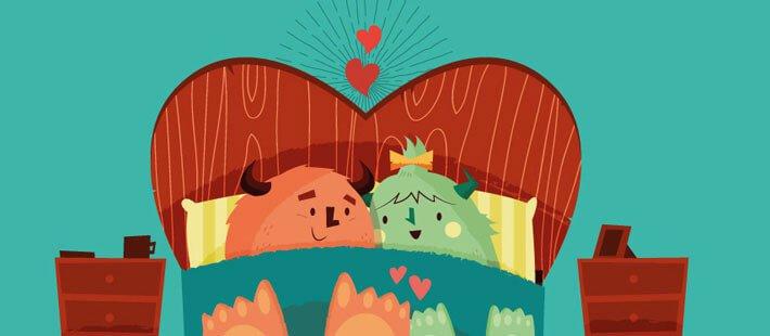 Monstruos enamorados en la cama