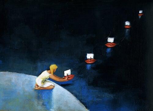 Mujer enviando notas con barcos por el mar