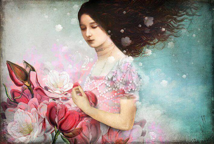 Mujer recogiendo flores rosas