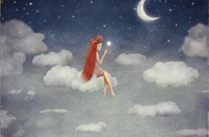 Mujer sonriendo a la luna
