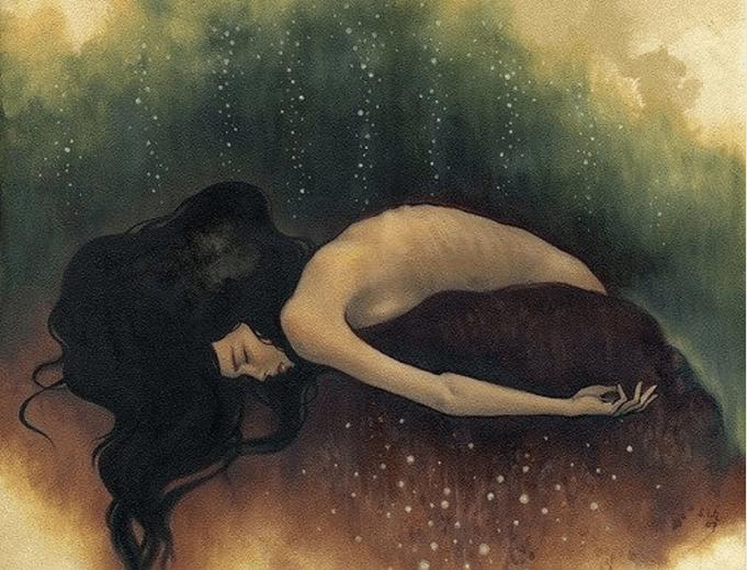 Mujer triste agachada