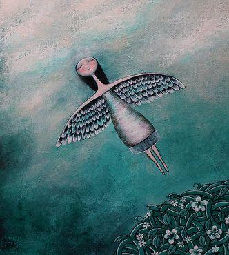 Niña Con Alas Volando Por El Cielo