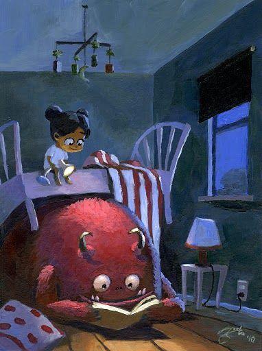 Niña en la cama encima de un monstruo