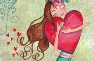 Niña feliz abrazando un corazón disfrutando de su soledad